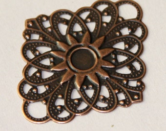 10 pcs of antique copper filigree diamond links 38x47mm