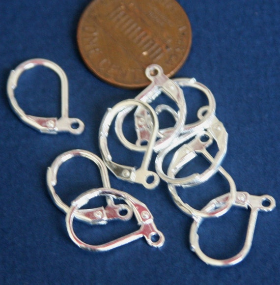 50 pcs of Silver Plated  leverback earwire 10X15mm