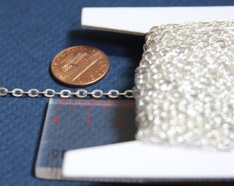 45 ft of Silver Plated chain  iron flat cable chain 3x2.2mm - unsoldered , bulk silver chain