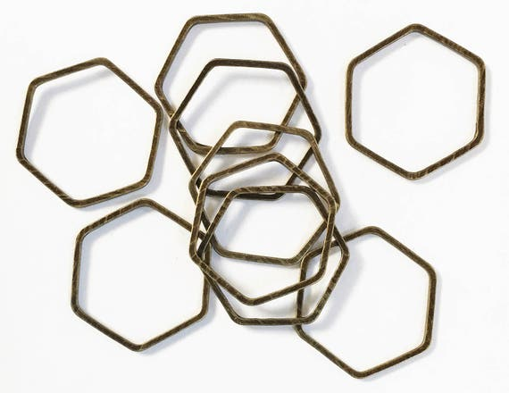 20 Pcs Of Antique Brass Double Sided Hexagon Connector
