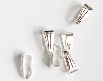 50 pcs of White silver plated snap bail 9x4mm, white bright snap bail, locket bail, bulk silver bail