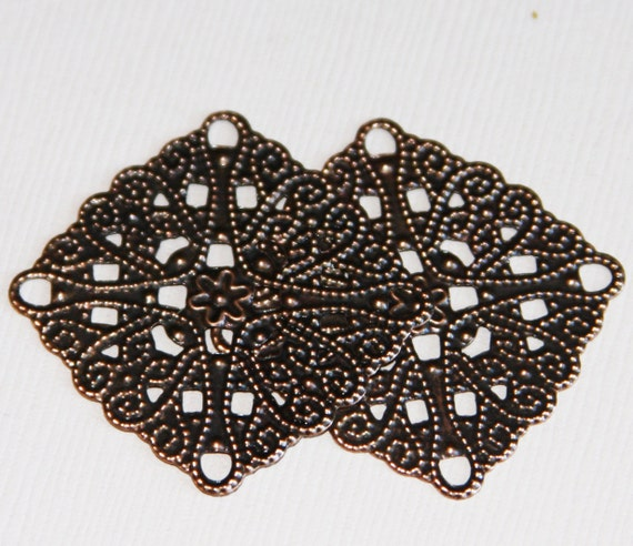 48 Antiqued Copper Plated Brass 16x16mm Filigree Square Connectors