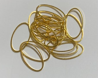 Gold plated brass oval links 24x14mm, closed links 20pcs
