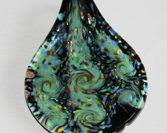 1 piece of  Green lampwork teardrop pendant 61x49mm