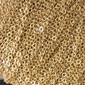 Oval Flat Wire Chain CB017 1m10m100m 2.1x1.7mm Brass Soldered Body Chain