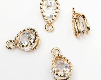 4 pcs of Light gold teardrop charm with Cubic Zirconia 13x8mm