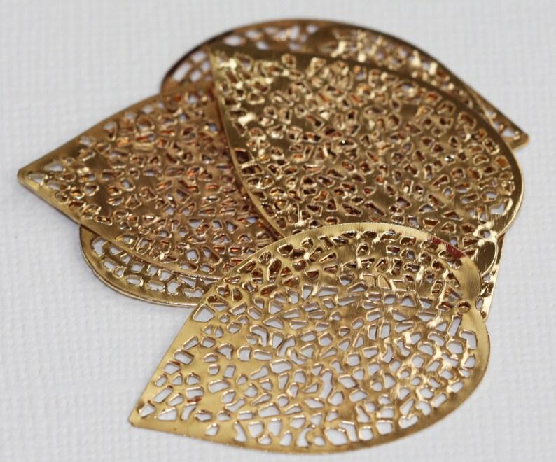 20 pcs of gold plated filigree leaf focal 36 X24mm image 0