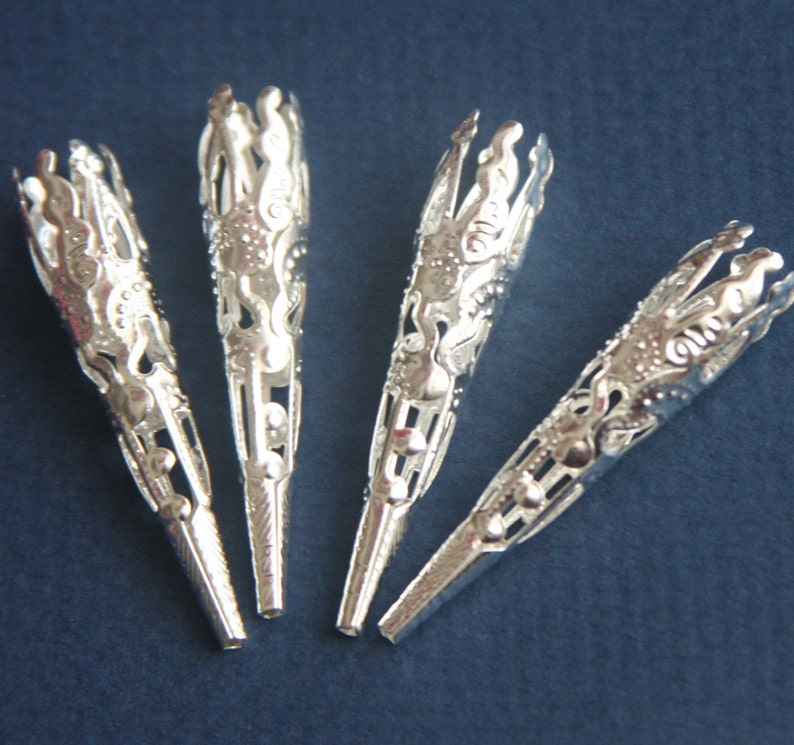 30 pcs of Silver plated  filigree cone 41X8mm