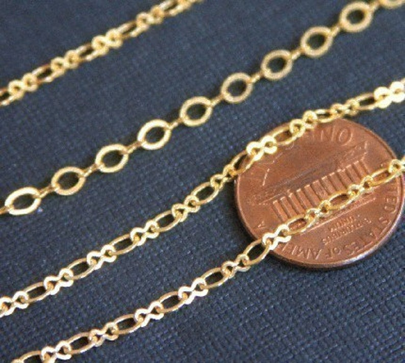 100 ft spool  Gold Plated Chain Figure 8 Connector Chain 2.9X 3.3mm links 1