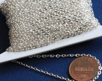 Sale 45 ft  Silver Plated chain  iron flat cable chain 2X3mm unsoldered, Bulk silver chain