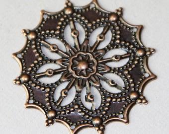 10 pcs  antique copper filigree  focal 34mm