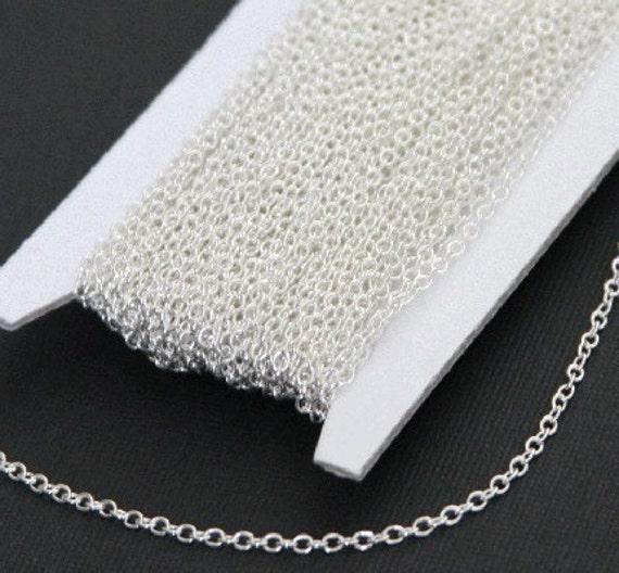 bobine de 100 pieds d'argent plaqué laiton rond câble chaîne 2X2.5mm, chaîne en argent en vrac, en vrac de chaîne en laiton