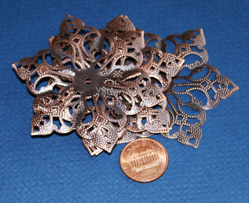 10 pcs  Antiqued Copper filigree pendant drop 63mm