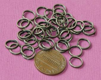 100 pcs  Antiqued brass split rings 8mm