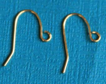100 pcs  gold plated earrings hook 20X11mm