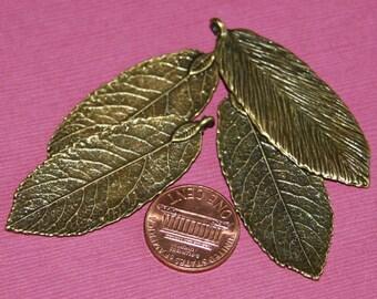 Bulk 20 pcs of Antique Brass leaf pendant 20x50mm