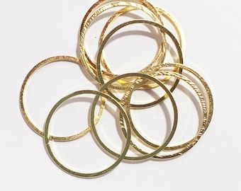 Bulk 50 Gold plated brass round connector rings 20mm, 1mm thick