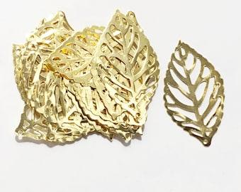 20 pcs gold tone stamp leaf 35x20mm, bulk gold leaves charm, leaf pendant