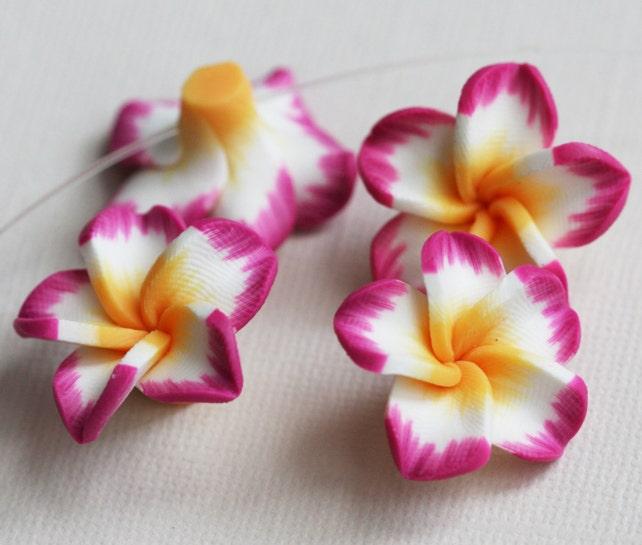 8 polymer clay flower hawaiian pink plumeria flower 25mm etsy image 0 mightylinksfo