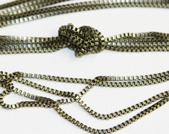 10ft  Antique brass box  chain 2mm, antique brass beading chain