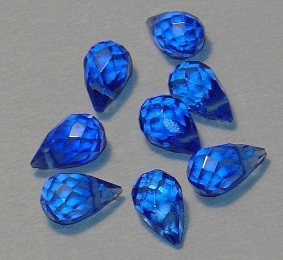 18 pcs of Light Blue Quartz Glass Faceted Briolette Bead 8x10mm