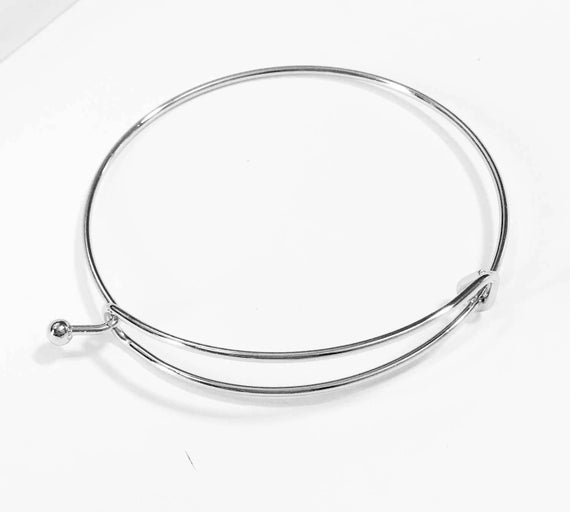Bulk 20 Pcs Adjustable Wire Bangle Silver Plated Steel