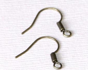 100 pcs  Antiqued brass fish Hook Earwire 17X15mm