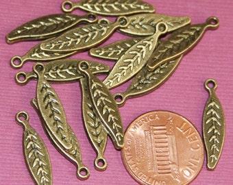 24 pcs of Antique brass leaf drops 21x5mm
