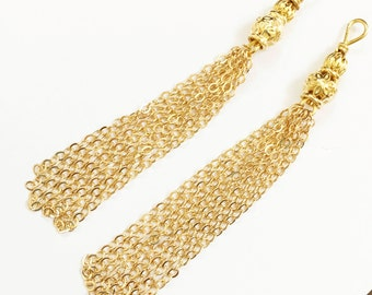 2 gold plated brass tassel, gold plated chain tassel, gold plated pendant tassel Hand made in USA