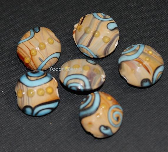 10 шт абажуровые бусины плоские круглые 17 мм - коричневый / синий 2