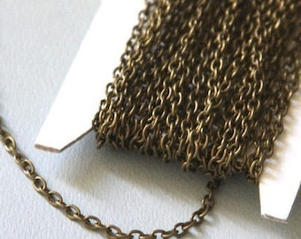 45 ft  Antiqued Brass finished iron round cable chain 2.6X3.9mm - unsoldered