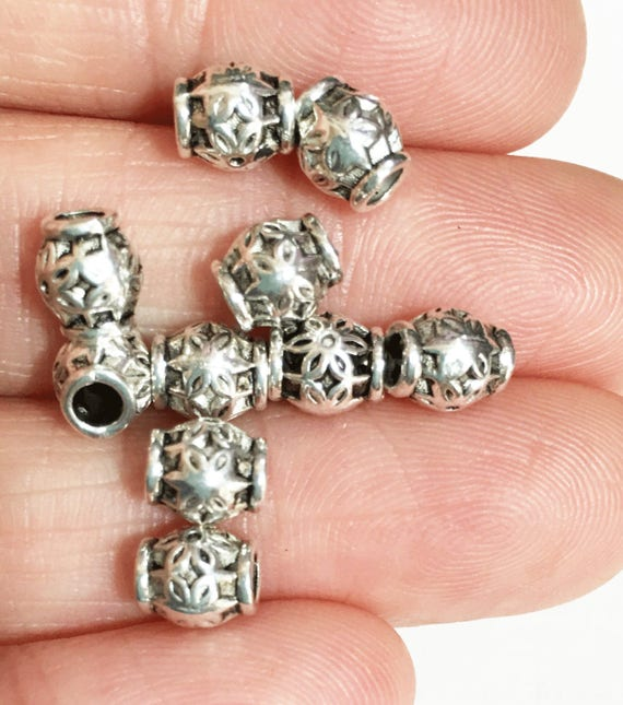 LF CF 50 x Antique Silver Square Spacer Beads 7mm x 7mm