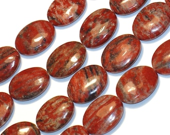 16 inch strand of Red Feldspar oval beads 15X20mm
