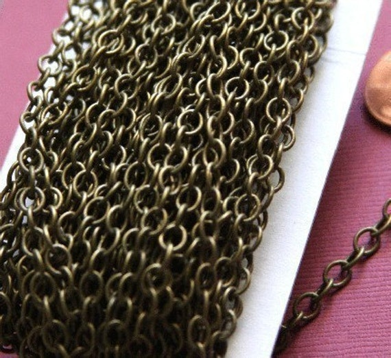 10ft of Antiqued Brass Circle links chain  6mm-10mm