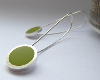 Minimalist Earrings - Contemporary Round Pesto Green Earrings - Birthday Gift - Pop Long Drop Earrings