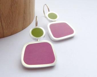 Magenta Pink and Pesto Green Colour Block Drop Earrings - Birthday Gift - Modern Colourblock Earrings