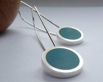 Teal Blue Round Drop Earrings - Silver Minimalist Earrings - Colour Pop Long Drop Earrings