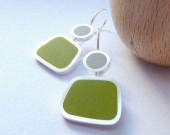 Pesto Green and Grey Drop Earrings - Modern Earrings - Colourblock Earrings