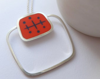 Square Orange Statement Pendant - Mid Century Style Birthday Gift - Atomic Square Pendant