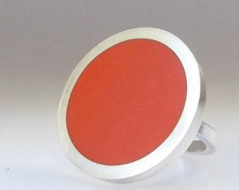 Orange Statement Ring - Large Round Orange Resin & Silver Ring - Pop Ring