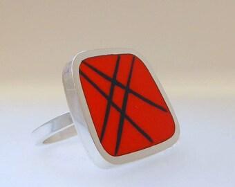 Statement Ring - Big Square Orange Resin Ring - Striped Orange Ring - Graphico Square Striped Ring