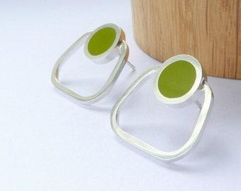 Pesto Green Square Stud Earrings - Gift for Good Friend - Pop Square Hoop Studs