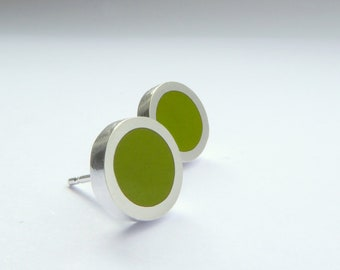 Small Round Pesto Green Resin Stud Earrings - Olive Moss Green Gift for Friend - Pop Small Studs