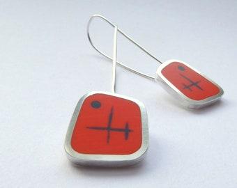 Orange Earrings - Long Drop Resin Earrings Handmade in England - Graphico Atomic