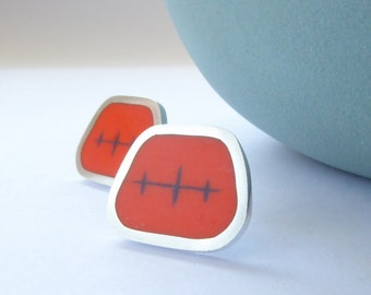Square Orange Stud Earrings - Mid Century Style Gift for Sister - Atomic Studs