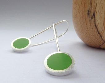 Leaf Green Resin Earrings -Long Minimalist Earrings - UK Birthday Gift - Pop Long Drop Earrings