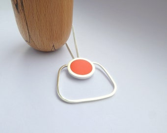 Square Orange Pendant - Minimalist Square Bold Large Silver Jewellery -  Pop Square Pendant