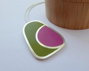 Rectangular Statement Pendant - Pesto Green and Magenta Pink Geometric Pendant - Colourblock Pendant #5