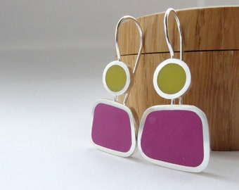 Square Colourful Earrings in Magenta Pink and Yellow - Modern Earrings - Colourblock Earrings