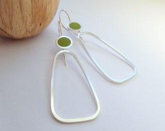 Pesto Green Geometric Hoop Earrings - Minimalist Silver Hoop Earrings - Gift for Sister - Pop Long Hoops